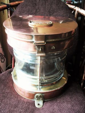 ANTIQUE LARGE HEAVY COPPER & BRASS SHIP MARINE LIGHT CONVERTED ELECTRICITY 13""